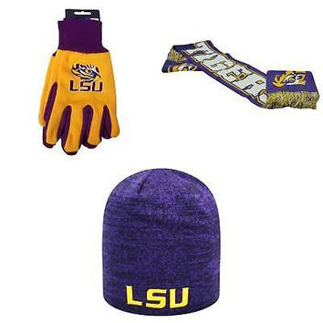 Licensed NCAA LSU Tigers Spirit Scarf Grip Work Glove And Zero Beanie Hat 3 Pack 66166 KO_19_1