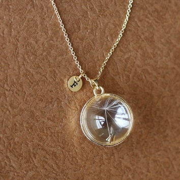 gold Dandelion seed necklace Make A Wish glass bead orb, transparent round necklace, bridesmaid gifts, real plant necklace good luck charm