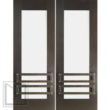 "2-1/4"" Thick Mahogany Double Doors Low-E Glass Iron Work"