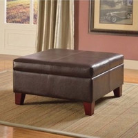 Faux Leather Storage Ottoman Luxury Large Brown Table Living Room Furniture New