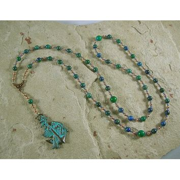 Amphitrite Prayer Bead Necklace in Lapis-Chrysocolla: Greek Goddess, Queen of the Seas