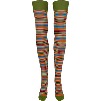 Pop Stripes Over The Knee Socks in Green