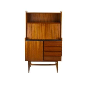 Pre-owned Modern Danish Style Teak Cabinet With Drop Front