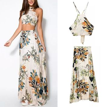 2 Piece Spring/Summer Crop Top and long Maxi Skirt