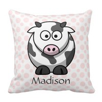 Cute Comic Cow on Pink Polka Dots, Add Name Pillows