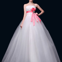 White Strapless Lace Up Wedding Dress with Sash