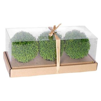 """Artificial Topiary Balls in Box Set of 3 - Green (4"""")"""