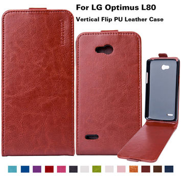 """Flip PU Leather Case For LG Optimus L80 D380 D385 L 80 5""""Mobile Phone Cover for LG L80 With Vertical Magnetic Bag Business Style"""