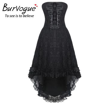 Burvogue Women Steampunk Gothic Overbust Corset Dress With Zipper Lace Up Bustiers & Corsets Steampunk Corset dress S-4XL