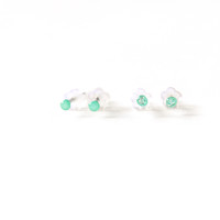 Tiny Minty Blue Studs