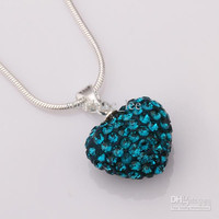 Beautiful Gift 925 Silver 14MM Clay Pave Disco Ball Heart Crystal Beads Pendant Necklace 18inch 18pcs