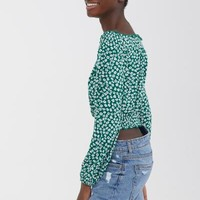 Off-the-shoulder Top - Green/floral - | H&M US