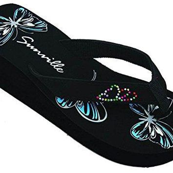 SV S2338 Womens Sandals Flip Flops Platform Wedge Butterfly Studded Strap Thong Fashion Slip on Shoes