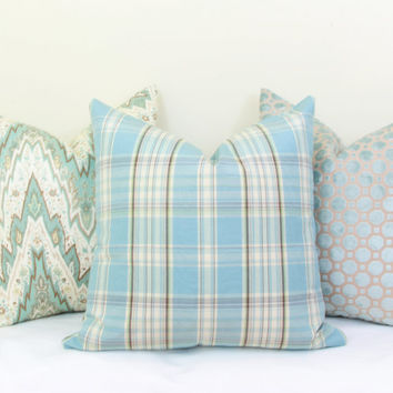 Blue plaid throw pillow cover 18x18 20x20 22x22 24x24 26x26 Aqua Euro sham Plaid lumbar pillow Light blue pillow Blue plaid pillow 12x20
