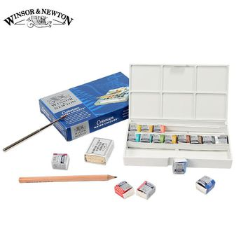 Winsor&Newton Imported Solid Watercolor Paints 12 16 24 45 Colors Half Pans Pigment Set For Artist Art Supplies