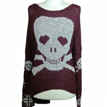 Love Dangerously Oversized Sweater- Burgundy Ed.