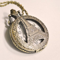Victorian Antique Paris Eiffel Tower Pocket Watch Necklace Chain Christmas gift