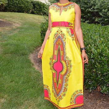 AfroFashion Maxi Dress New African Dashiki Print Long Traditional Clothing