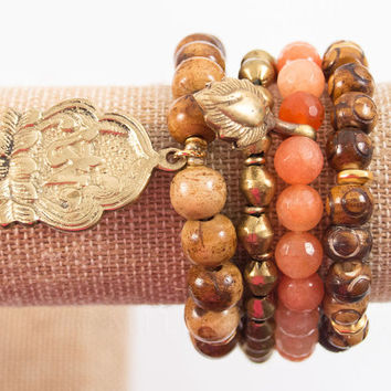 Boho Bracelet Set | Nepalese Bracelets | Tibetan Bracelet Set with Carved Bone Mala Beads, African Brass Beads, Peach Jade, Lotus Flower