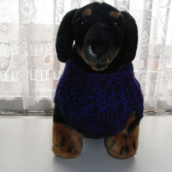 "Dog sweater hand knit 17"" daschund / doxie, dashund sweater,dog sweater, dashund coat, hand knit doxie sweater,"