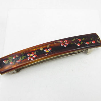 Made in France Tortoise Shell Hair Barrette Hand Painted Design Vintage Hair Adornments Clips Brown Vintage Accessories Floral Design