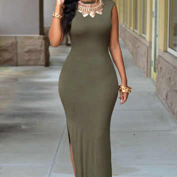 Army Green Sleeveless Cutout Back Side Slit  Bodycon Maxi Dress