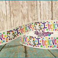 I Believe Unicorn Rainbow US Designer 7/8 Grosgrain Ribbon - Rainbow Stars Ribbon - Matching Rainbow Waves & Dots