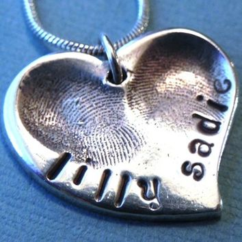 Fingerprint Jewelry Silver Personalized Heart - Childrens Fingerprints for Mom - Medium