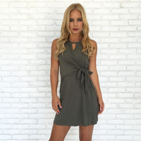Unsided Wrap Dress In Olive