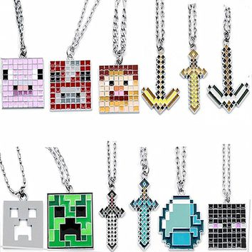 Fashion Game Necklace Steve Alex Enderman Creeper Ender Dragon Pig Metal Jewelry
