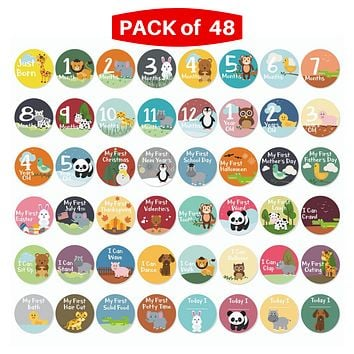 Novarena Little Jungle and Farm Animals Lover 48 baby milestones stickers - First 5 Years