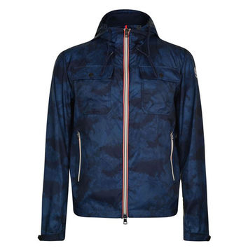 Blue Camo Polyamide Jacket by Moncler