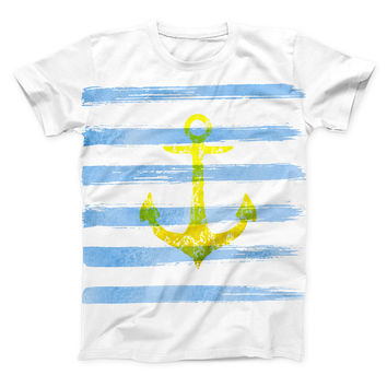 The Blue Striped Watercolor Gold Anchor ink-Fuzed Unisex All Over Full-Printed Fitted Tee Shirt