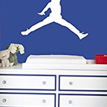 Wall Decal Vinyl Sticker Decals Art Decor Design Basketball Player Boys Room Ball Basket Jumping Sport Kids Children Gift Bedroom (r665)