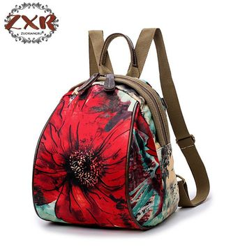 New Korean version of the Oxford cloth shoulder bag female leisure travel female backpack canvas Ms. printing shoulder bag