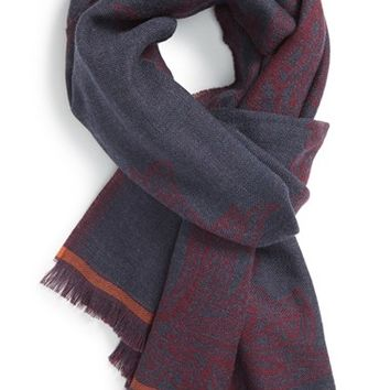 Men's Etro Paisley Wool Scarf - Burgundy