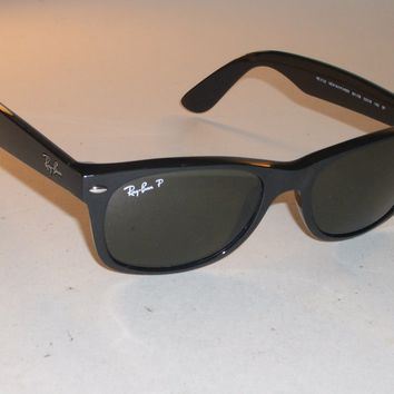 RAY BAN RB2132 52[]18M SHINY BLACK G15 POLARIZED GLASS WAYFARER SUNGLASSES