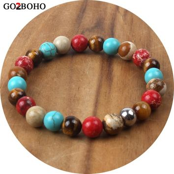 Go2boho Dropshipping Supplier Native American Bracelet Jewelry Boho Ethnic Bracelet Woman Pulseira Male Bead Chakra Meditation