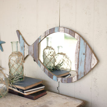 Driftwood Fish Mirror-Distressed Blue & White