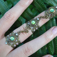triple ring armor ring peridot nail ring nail claw nail tip knuckle ring elfin goth victorian steampunk goddess pagan witch boho gypsy style