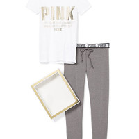 Crew Tee & Gym Pant Gift Set - PINK - Victoria's Secret