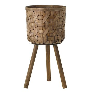"""Woven Bamboo Basket Plant Stand - 21.5"""" Tall x 10.75"""" Wide"""