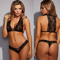 Temptation Perspective Lace Hollow Deep V Halter Small Vest Erotic Underwear Lingerie Set