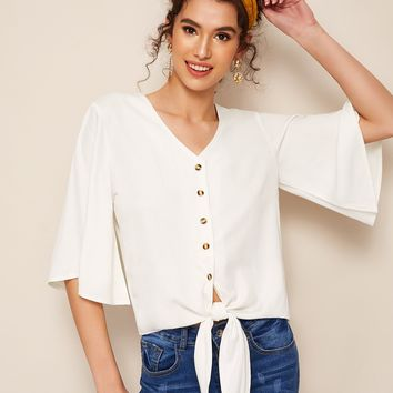 Flutter Sleeve Button Front Knotted Blouse