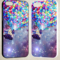Balloons Flying House in nebula F0784 iPhone 4S 5S 5C 6 6Plus, iPod 4 5, LG G2 G3, Sony Z2 Case