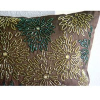 Floral Spark - Throw Pillow Covers - 16x16 Inches Silk Pillow Cover with Sequin Embroidery