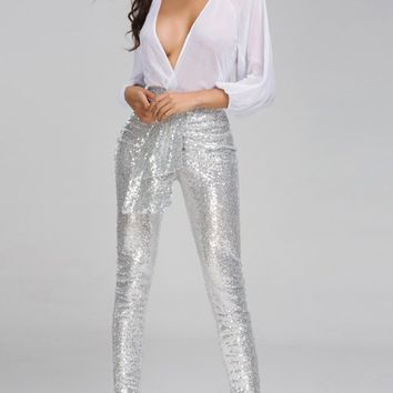 Sparkle In The City White Silver 3/4 Lantern Sleeve Chiffon Cross Wrap V Neck Sequin Skinny Jumpsuit