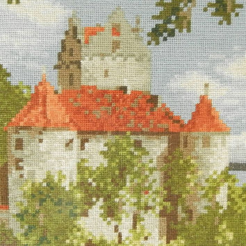 "Handmade gobelin ""French Castle"" with frame, wall fiber art. Hendmade home decor. Art Deco"