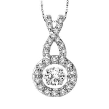 .25ct (4mm) Sterling Silver Dancing Diamond - Diamond Veneer Infinity Pendant in perpetual motion 635P16