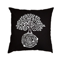 White tree of life throw pillow cover decorative cotton toss black hand painted pillow case cover handmade bedroom set 18x18 inches